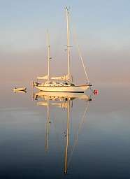 Sailboat and Fog Bank