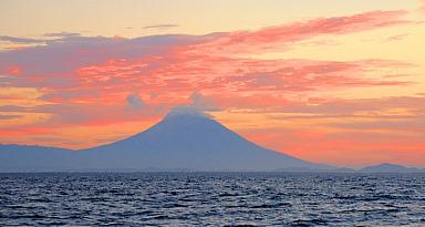 Colorized volcanic coastline