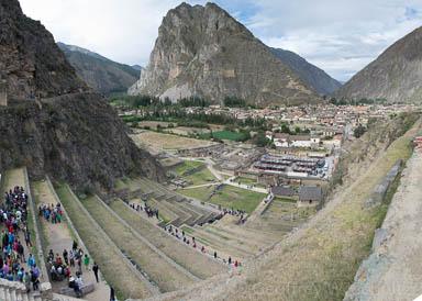 Wide angle shot of terraces and Pinkuylluna at Ollantaytambo