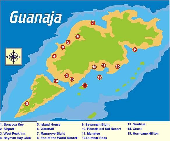 Guanaja Island Honduras Map